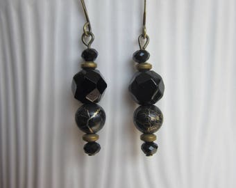 SALE! Black and gold drop earrings with vintage glass beads