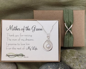 Mother of the GROOM Gift From Bride - Mother of the Groom Necklace - Freshwater Pearl - Thank You for Raising the Man of My Dreams