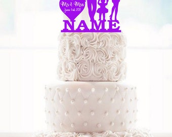 custom cake topper with family name and date wedding cake topper with kids silhouette cake topper with children silhouette wedding toppers