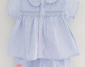Hand Smocked baby boys Baptism outfit - 3-6 months