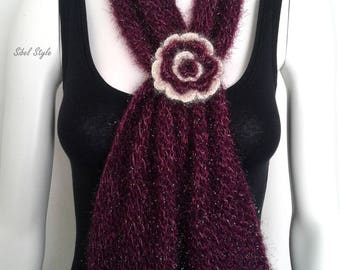 Woman's scarf neck scarf flower knit handmade bordeaux / plum, gift idea for women, Mother's day gift idea.