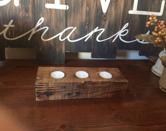 Rustic Pallet 3 Candle Holder