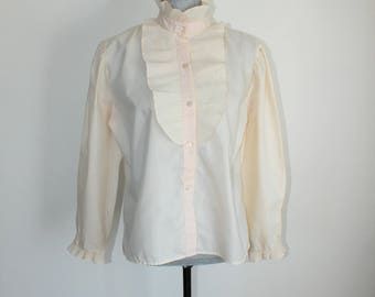 Cream Blouse Ruffle Front Cuffs Button Long Sleeve 70s Shirt Size Large