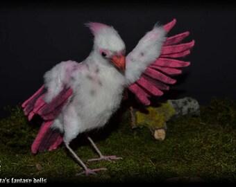 Bird Albino Cardinal Soft Sculpture, Handmade OOAK toy, stuffed bird, Art Doll, Animal sculpture, Textile Taxidermy, Realistic bird