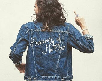 Embroidered Denim Jacket | Made to Order | Vintage | Oversized | Property of No One | 70s | 80s | Girlboss | Feminist | Eco Fashion