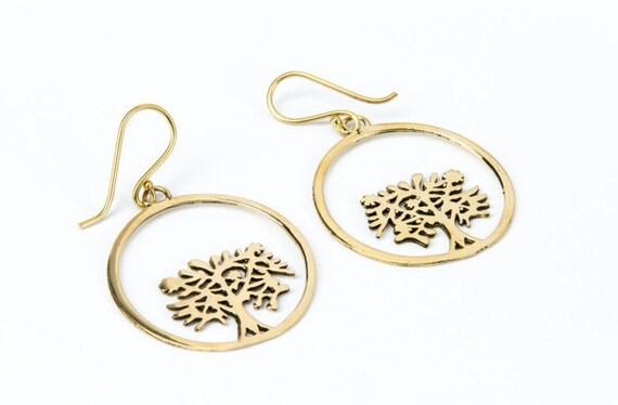 Gold Plated 3 Microns Circle Tree of Life Earrings, Earrings handmade, Yoga Earrings, Spiritual Jewellery, Gift boxed,Free UK post G10