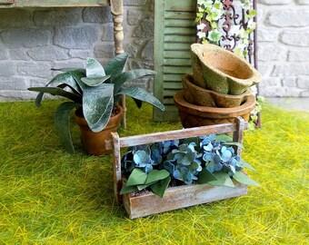 Miniature hydrangea, blue flowers, miniature in wooden basket, accessory gardening garden 1:12 scale Dollhouse decoration