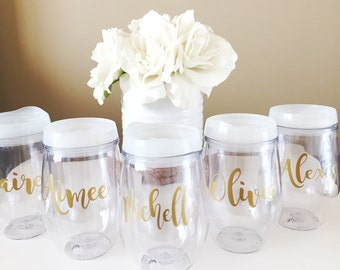 Stemless Wine Tumbler, Personalized with Name, Bridesmaid Bride Gift Bachelorette With Lid and Straw