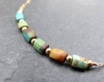 Natural turquoise necklace, 14k gold filled, beaded necklace, raw stone necklace, boho jewelry, bohemian necklace, genuine turquoise jewelry