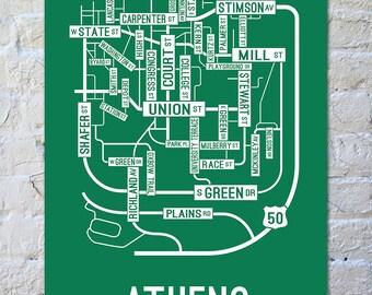 Athens, Ohio Street Map Screen Print
