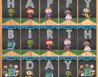 Super Why Happy Birthday Banner Chalkboard * Super Why Birthday * Super Why Printables * Super Why Birthday Banner * Super Why Party Favors