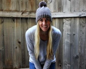 Crochet Pom Beanie/Taupe