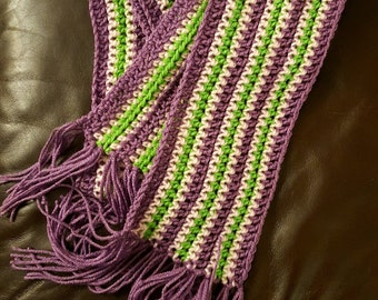 Long Purple and Green Scarf