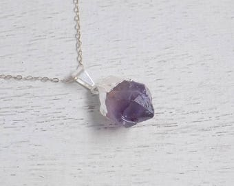 Raw Amethyst Necklace, Purple Amethyst Pendant, Amethyst Crystal, Purple Necklace, February Birthstone, Sterling Silver Necklace, Gift 8-583