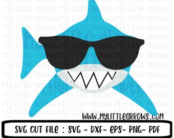 Shark with sunglasses svg - shark svg - boy shark svg -  summer svg - SVG, DXF, EPS, png Files for Cutting Machines Cameo or Cricut