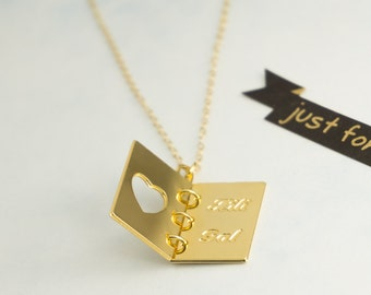 Gold Custom Necklace, Engravable Gold Necklace, Book Necklace, Custom Name Necklace, Book Jewelry, Personalized Jewelry, Gift for Her