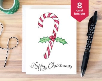 CHRISTMAS CARD SET: Happy Christmas Card Box Set. Whimsical Holiday Cards. Candy Cane Holiday Card. Greeting Card. Hand Drawn Christmas Set.