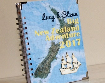 Personalized Travel Journal - New Zealand Adventure Notebook - Wanderlust Journal - Map Writing Journal - Travelers Gift - Personalized Gift