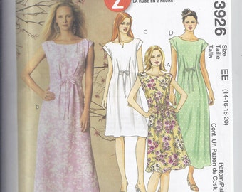 McCalls Pattern 3926 from 2003, 2 hour dress, Pullover A-line dress Bust 36-42, UNCUT