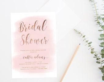 Printable Bridal Shower Invitation,  Blush + Gold Bridal Shower Invite, Bridal Shower Invitation, Watercolor Shower Invite