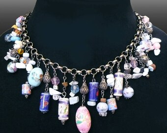 Choker Necklace Embellished with Ceramic, Metal and Crystal Beads, as well as Various Stones