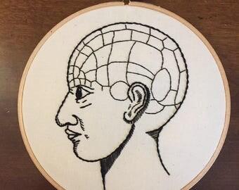 Phrenology Head, Medical Artwork, Female Phrenology Head, Phrenology Science, Psychology Gift, Vintage Anatomy, Human Head; Made to Order