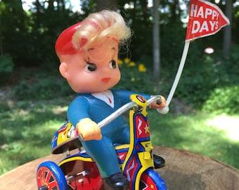MTU Happy Days Tin Wind Up Toy 1960s Balloon Bicycle Korea