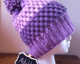 Puff Stitch Hat Purple