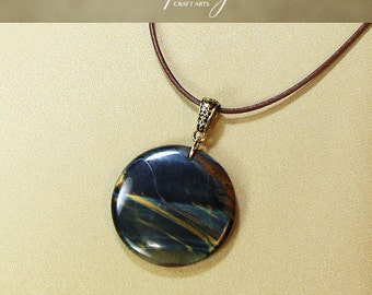 Gemstone Blue Yellow Tiger Eye pendant necklace, Round shape pendant, Blue Tigers Eye pendant, Genuine Leather necklace,InfinityCraftArts