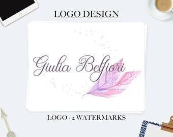 Feather logo, business logo design, feminine logo, rustic logo, watercolor logo, boho logo, circle logo, branding kit, blog logo, ooak logo