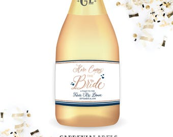 HERE COMES the BRIDE Mini Champagne Labels, Future Mrs Bridal Shower Favors, Personalized Bachelorette Party Favor, Engagement Party Decor