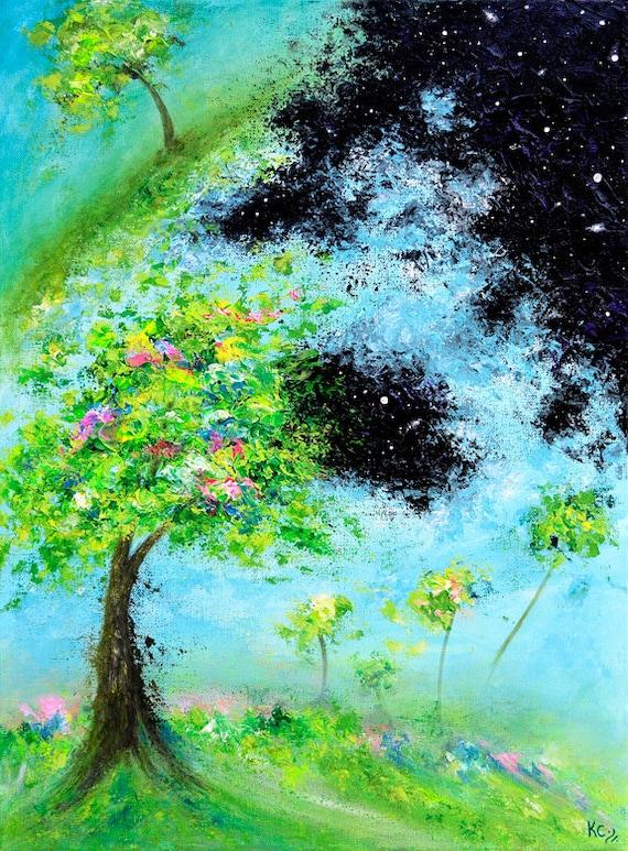 Cosmic Print. Visionary Art Print of Surreal Painting. Visionary Wall Art. Psychedelic Art. Cosmic Wall Art. Surreal Art. Cosmic Landscape.