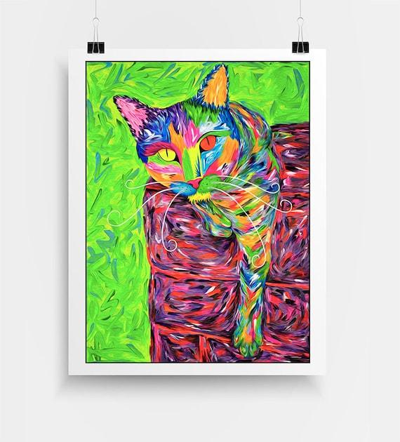 "Pop Art Cat Print. Colorful Painting of Cat. Cat Art Print. Cat Wall Art. Cat Lover Gift. Cat Portrait. Cats. Pet Art Print ""Sweet Samadhi"""