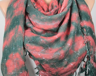 Tassel Scarf Tie Dye Cowl Scarf Fall Winter Green Salmon Pink Scarf Shawl Women Fashion Accessories Christmas Gift Ideas For Her