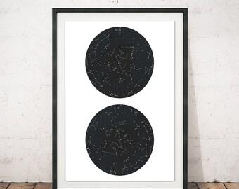 Contellations wall print, Constellations art, Constellations print, Wall art, Minimalist print, Circles art, Constellations, Horoscope