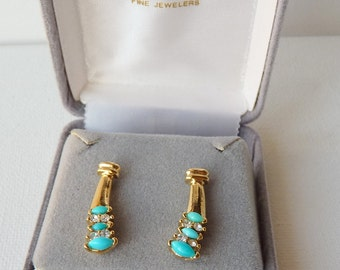 Lindenwold Gold Turquoise Rhinestone Pierced Earrings  Vintage Gold Tone Crystal And Faux Turquoise Stud, Turquoise Jewelry,Costume 60-70's