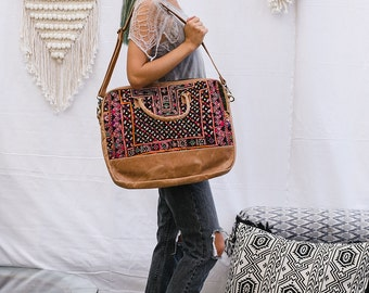 Leather Laptop Bag With Tribal Embroidery, Computer Bag, Laptop Shoulder Bag, Laptop Handbag, Messenger Bag