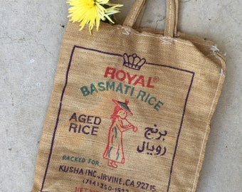 Vintage Burlap Rice Sack Shopping Bag, Basmati Rice Food Advertising, Perfect Farmer's Market Bag, Vintage Collectible Food Advertising