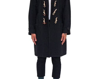 JEAN PAUL GAULTIER Homme 90s Toggle Coat Size 50 It Vintage Detachable Hood Wool