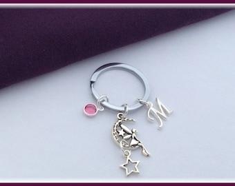 Fairy keychain, fairy gift, fairy Keyring, stars keychain, Personalized keychain, birthstone keychain, silver keychain, birthday keychains