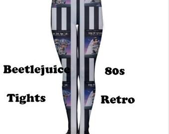 Beetlejuice tights, tights, fashion,80's, 80's pattern, fun, beetlejuice, retro, vintage, 80's style
