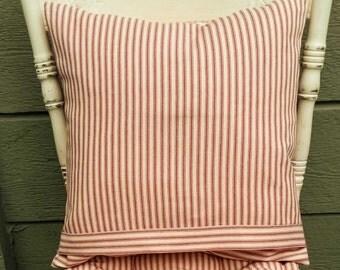 Farmhouse Ticking Pillow Cover - 18 x 18 inch