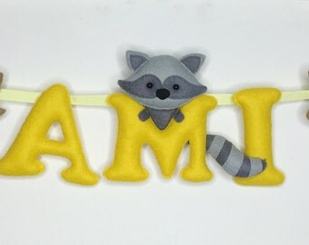 Name banner,Raccoons Theme,Name garland,Nursery decor,Baby shower gift,Wall decor