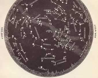 1923 month of October star chart astronomy print - Night sky, star map, constellations, wall decor - 94 yr old antique illustration (C474)
