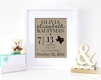 Personalized Baby Announcement, Baby Announcement Sign, Birth Stats Sign, Birth Announcement Sign, New Baby Gift, Nursery Decor Newborn Gift