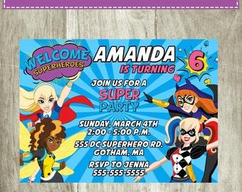 DC Superhero Girls Birthday Invitation Personalized Printable Digital 5x7 file