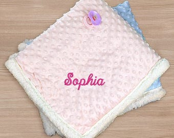 Embroidered Sherpa Baby Blanket, Embroidered Name Baby Blanket, Embroidered Blue Baby Blanket, Embroidered Pink Baby Blanket