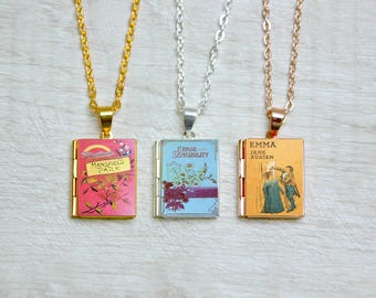 Jane Austen Necklace Book Cover Locket Library Charm Literary Necklace Gifts Jewelry Jewellery Emma Mansfield Park Northanger Abbey