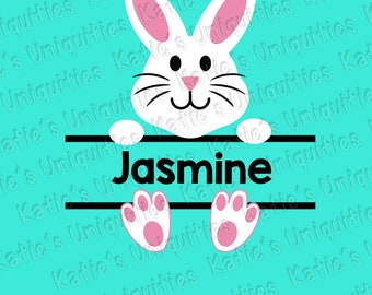 Easter Bunny Rabbit Split Name (No font/letters!) SVG DXF PNG Digital Cut File for use with cutting machines Cricut Silhouette