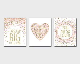 Nursery Prints Dream Big Little One You Are So Loved Pink And Gold Nursery Decor Printable Girl Room Wall Art Baby Shower Gift Set of Prints
